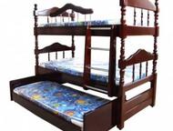 Кровати одно, двух, трехъярусные; шкафы, комоды, диваны, столы из дерева Мебель