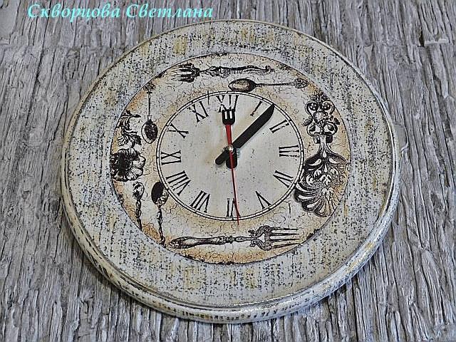 """Часы настенные """"Время обедать"""" сделано своими руками"""