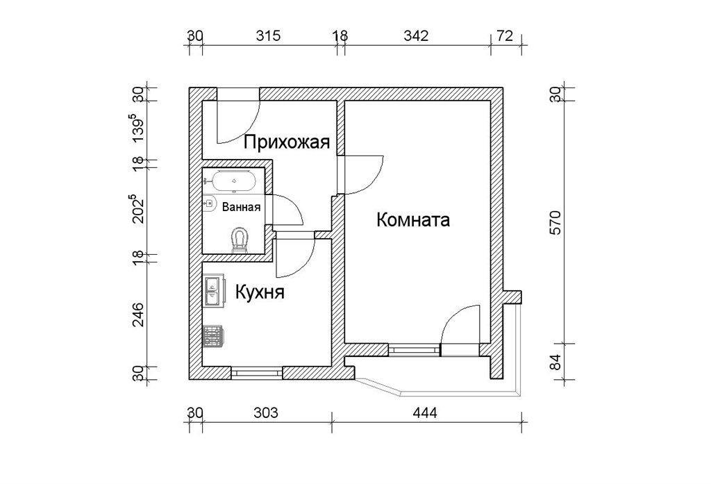 Дизайн квартир 2 комнатная с размерами