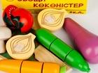 Свежее изображение  Набор игрушек из дерева Овощи с доской и ножом, 39692405 в Бийске