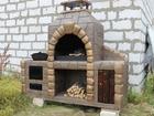 Садовая печь с барбекю и казаном