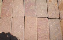 Натуральный камень песчаник красный пиленый + галтованый (плитка)