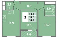 Продается 2-ком ква-ра площадью 54.6 кв.м на 3 этаже 10 этаж