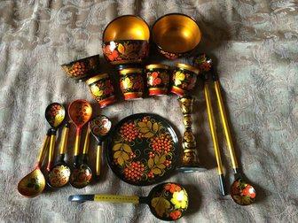 Скачать фото Антиквариат Хохлома 19 предметов 32353523 в Москве