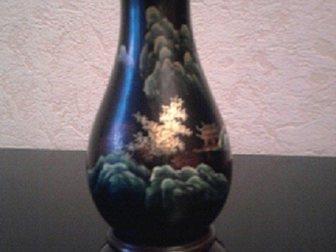 Свежее изображение Антиквариат Вазочка из дерева, роспись по лаку, Китай 33828474 в Москве