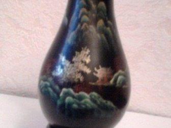 Смотреть изображение Антиквариат Вазочка из дерева, роспись по лаку, Китай 33828474 в Москве