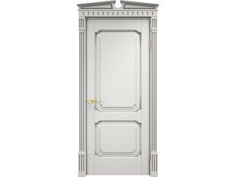 Свежее фотографию  Межкомнатная дверь, массив ольхи, Белый грунт патина микрано, Ол 7_2, пг, комбинированный корниз возвышение, 34585142 в Москве