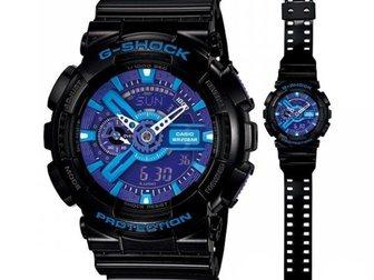 Смотреть фото Часы Часы G-shock 110RG, черно-голубые 34753513 в Москве
