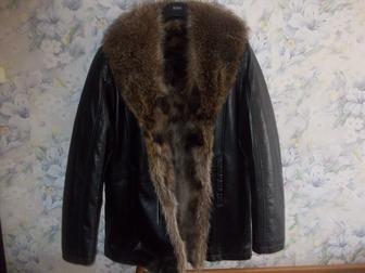 Скачать бесплатно изображение  Куртка кожаная с мехом волка Италия 38003985 в Москве
