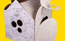 Необычный картонный Домик из белого картона