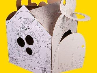 Уникальное фото Детские игрушки Необычный картонный Домик из БЕЛОГО картона, 33289347 в Новосибирске