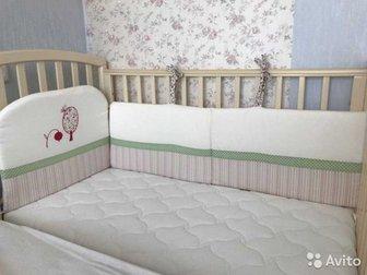 Кроватка с поперечным либо продольным (на выбор) маятником с матрацом PLITEX (съёмная верхняя часть на молнии, для стирки), с двумя ящиками для вещей (снизу) и бортиками, в Новосибирске