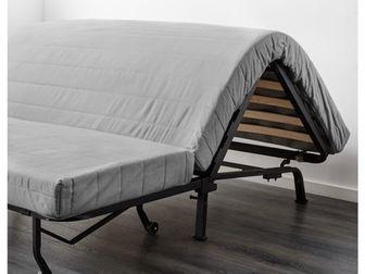 Диван-кровать,  икеа Ликселе,  Раскладной, жёлтый чехол (можно стирать),  142 см x 100 см x 87 см размер дивана,  С однослойным пенополиуретановым матрасом средней в Новосибирске