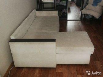 Угловой диван,  Б/у, с 3 подушками, в Новосибирске