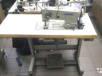 Двухигольная швейная машина JT- 6845-005 челночного стежка с дополнительным игольным продвижением материала,  Предназначена для средних и тяжелых материалов, Двигатель в Новосибирске