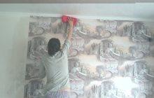 качественно клеем обои рогожку багеты покраска стен потолок
