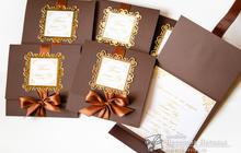 Приглашения на свадьбу в шоколадно - золотом цвете