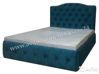 Кровати в каретной стяжке (Кожа маркиBORN, расцветки можете выбрать на нашем официальном сайте: Mebel-vsem74) Фото №1: Кровать №37 Фото №2: Кровать №35 Фото в Уфе