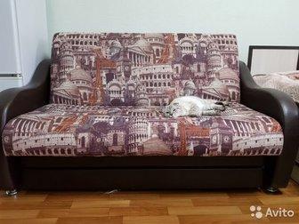Раскладной диван 160 см в ширину, 107 см в неразложенном состоянии в длину, 187 см в разложенном, Функционирует отлично,  Не воняет, нет пятен,  Ни разу не гадили, в Уфе